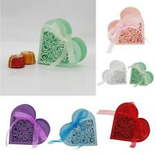 20x Love Heart Laser Cut Candy Gift Box w/Ribbon Wedding Party Favor 6 Colors