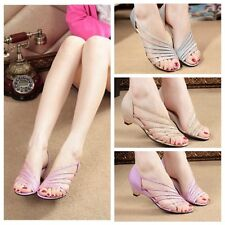 Fashion Lady Girl Summer Low Heel Sandal Open-Toed Sandals Skid Fish Head Shoes