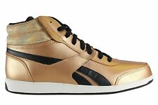 Womens Reebok Royal Mid SE Trainers Boots Gold Leather UK Size 5.5 - 6.5 NEW