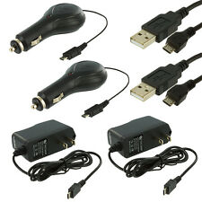 2X Retractable Micro USB Car Charger+2X Travel Charger+2X Cables for Cell Phones