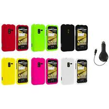 Color Hard Snap-On Rubberized Case Cover+RET Charger for Samsung Conquer 4G D600
