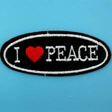 Love Peace Heart Embroidered Applique Iron on Patch Biker Motif Cute Motor Sew
