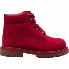 TIMBERLAND 6 INCH PREMIUM JUNIOR SIZE 12 13 1 2 RED PREMIUM LEATHER BOOTS NEW