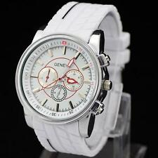 GENEVA Tyre Silicone Band White New Sports Men's Quartz Watch Wristwatch Watches