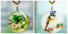 Double Side Glass Tile Dome Pendant Necklace Vintage Folk Art French Shabby Chic