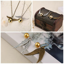 Harry Potter Fandom Quidditch Golden Snitch Wings Bracelet Necklace Earrings Set