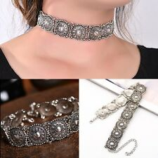 Women Vintage Ethnic Boho Silver Collar Choker Carved Bead Neck Pretty Necklace