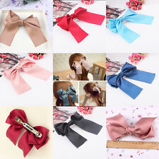 Women Satin Ribbon Bowknot Bow Hair Clips Barrette Ponytail Holder Accessories