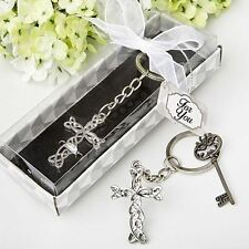6 X Intertwined Cross Keyring Baptism Christening Confirmation Wedding Favours