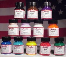 Angelus Acrylic Leather Paint Starter Kit - 1 or 4 Ounce, Set of 12, Multicolor