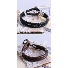 Punk Style Multilayer Leather Woven Wristband Anchor Bracelet Bangle-Black/Brown