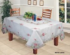 Creative Linens Embroidered Pink Rose Daisy Floral Tablecloth Napkins White 6703
