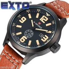 Exto Men's Watches Leather Fashion Army Casual Military Sports Wristwatches