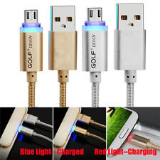 Braided Micro USB Data Sync Charging Charger Cable LED Light For Andriod Samsung