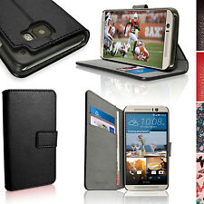 PU Leather Skin Wallet Card Case for HTC One M9 Flip Stand Cover + Screen Prot