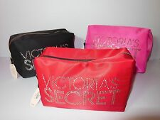 NWT VICTORIA'S SECRET Red Pink Black Stud Logo Signature Large Cosmetic Case Bag
