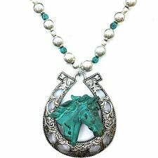 Western Cowgirl Horse Patina Silver Turquoise Charms Chain Necklace Earring Set