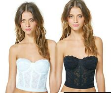 NWT Floral Lace Crop Top Bustier Corset beauty Bra Strapless Bodycon Cami formal