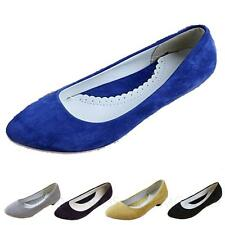 Womens Suede Flats Office Shoes Ladies Low Heel ballerinas Size 4 5 6 7 8 9 10