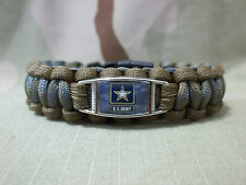 United States Army COYOTE TAN & FOLIAGE Paracord SURVIVAL Bracelet w Buckle