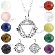 Hollow Heart Flower Locket Crystal Agate Gemstone Bead Pendant Necklace 28-19.5""