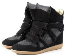 Fashion Women High Top Velcro Strap Wedge Hidden Heel Sneaker Ankle Boots Shoes