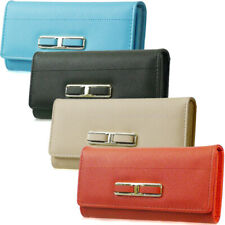 Fashion Ladies Faux Leather Designer Buckle Long Coin Purse Womens Wallet Card H