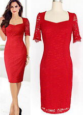 Women Lace square Formal Summer Evening Wedding Party Cocktail Plus Size Dress