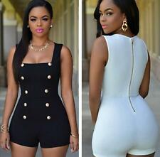 Hot Sexy Gold Buttons Rompers Brief Clubwear Women Bodycon Jumpsuits Playsuits J