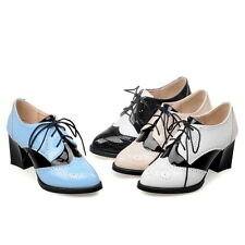 Womens Mid Cuban Heel Lace up Wing Tip Patent Chic Brogue New Punk Pumps Shoes