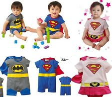 New Baby Boys Girls Short Sleeve Superman Batman Supergirl Costume Outfit Romper