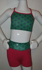 Gymnastics Dance Crop Top and Shorts Set green and pink cotton lycra