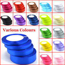 25 Yards Of Satin Ribbon 6,10,15,20,25,38mm In Multicolor Sold In Roll Craft