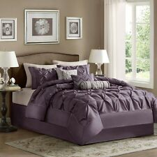 Plum Purple Laurel Comforter, Pillow Shams, Bed Skirt AND Decorative Pillows