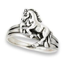Unique Equestrian Sterling Silver Horse Jumping Fence Ring Size 4-8