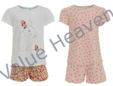 2 PAIRS Girls 100% Cotton Pyjamas Ex Marks and Spencer White Rabbit Pink Floral