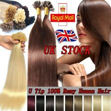 200S Indian Remy Human Hair Extensions Pre Bonded Nail U Keratin Tip 0.5G U143
