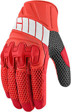 Icon Overlord Short Summer Leather Textile Mesh Motorcycle Gloves - Red