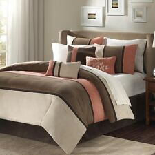 Coral & Brown Microsuede Comforter Bed Skirt Pillow Shams AND Pillows
