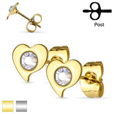Pair 316L Surgical Steel Clear Crystal Set Heart Stud Earrings