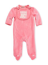 Juicy Couture Baby Girl's SOOOO JUICY Velour Footed 1-Pc Footie and Bib Set Pink