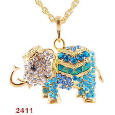 Multi Delicate elephant Golden Bead Pendant Necklace Long Chain Jewellery Gifts