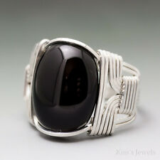 Black Onyx Sterling Silver Wire Wrapped Cabochon Ring