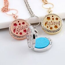 Believe Crystal Pendant Essential Oil Diffuser Necklace Perfume Locket Jewelry