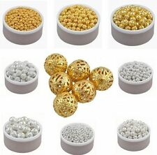 Free Ship 100/1000pcs Round Hollow Spacer Beads For Jewelry Making 4-10mm 4color