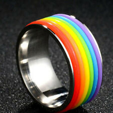 Fashion Stylish Colorful Rainbow High Polished Ring Jewelry Accessories