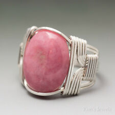 Rhodonite Sterling Silver Wire Wrapped Cabochon Ring