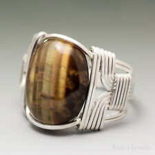 Golden Tigers Eye Sterling Silver Wire Wrapped Cabochon Ring