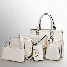 Lady Quilting Handbag Set Key&Card Holder Clutch Purse Stylish Shoulder Bag 6PCs