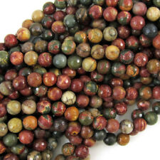 "Faceted Picasso Jasper Round Beads Gemstone 15"" Strand 4mm 6mm 8mm 10mm 12mm"